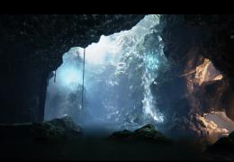 Водопад в пещере - живые обои
