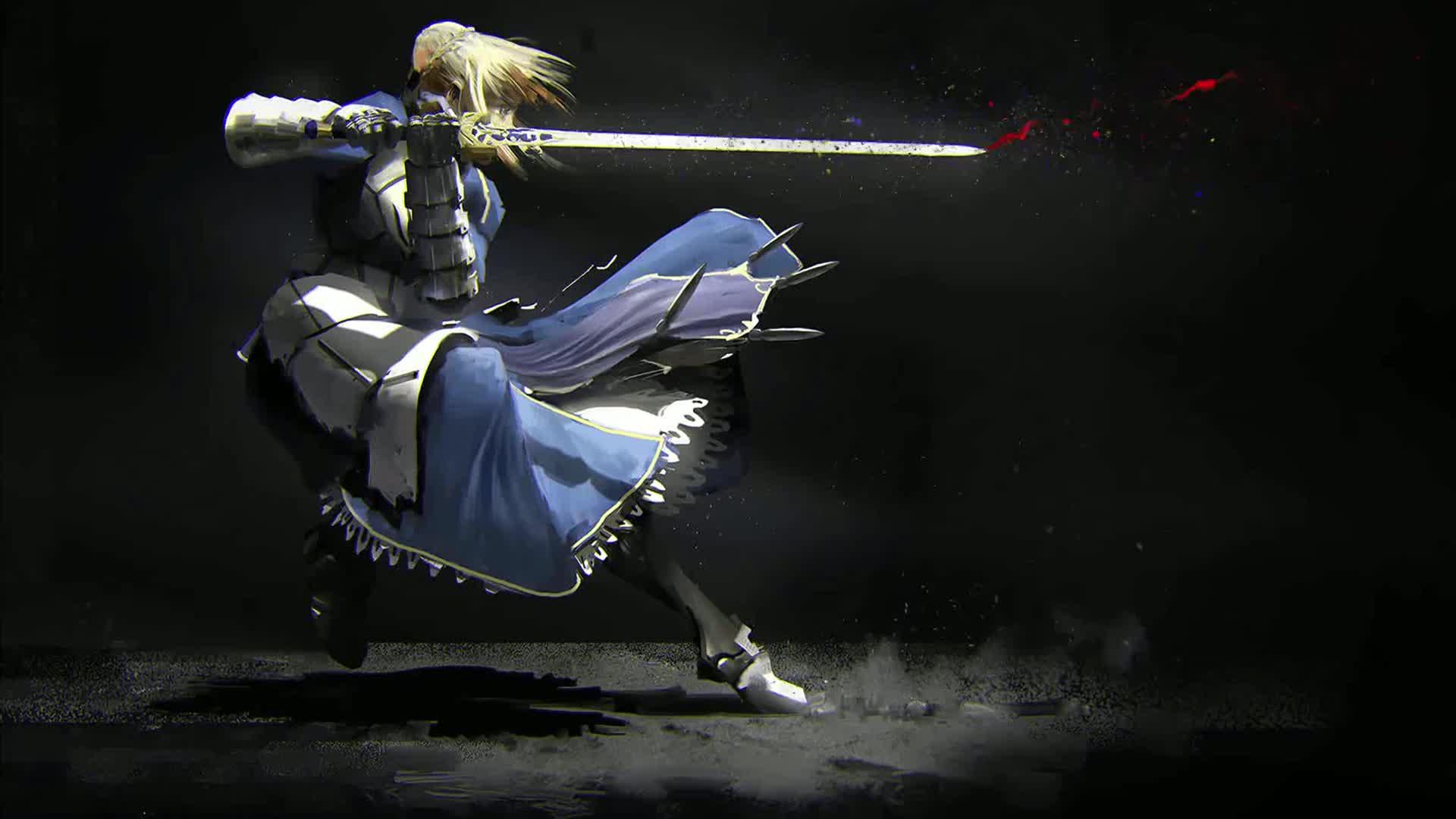 Аниме Девушка Воин с окровавленным мечом - живые обои