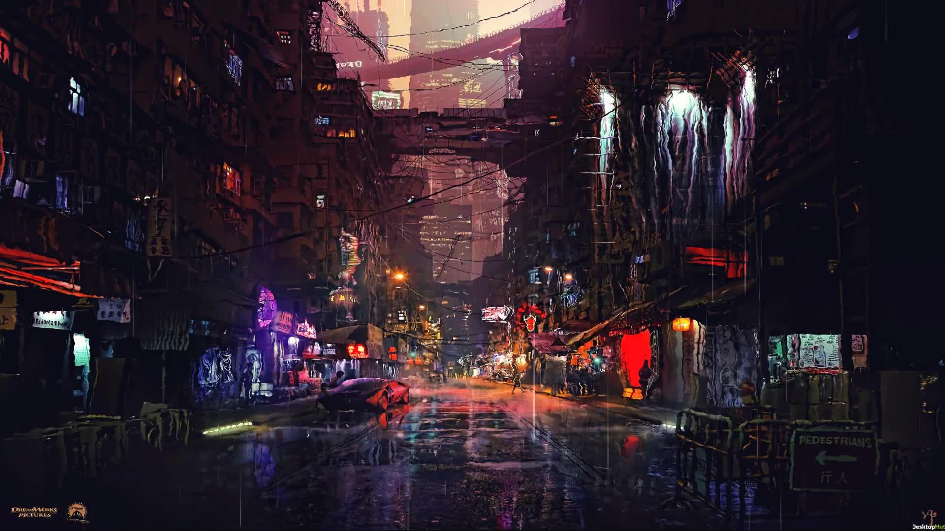 Blade Runner радиактивный дождь - Киберпанк - живые обои