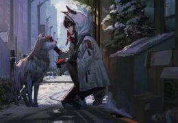 Зимняя Сказка - Девушка и Собака - Живые Обои