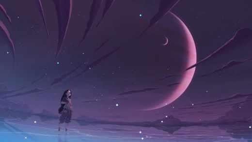 Девушка смотрящая в космос - Живые Обои